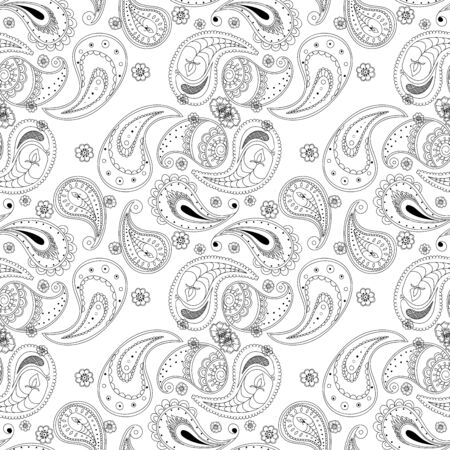 Monochrome Buta Elegant Vector Seamless Pattern. Decorative Lace Motif. Persian Ornament Illustration. Black Fabric Wallpaper.