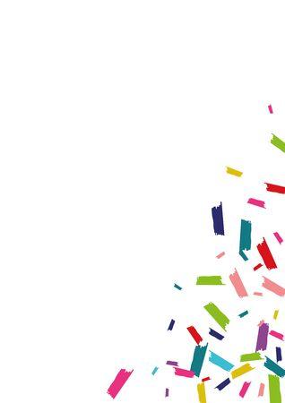 Rainbow Abstract Rain Card. Round Background. Confetti Transparent Illustration. Rainbow Effect Invitation.