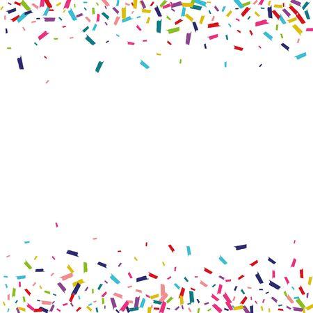 Rainbow Abstract Confetti Invitation. Confetti Backdrop. Round Happy Pattern. Rainbow Carnaval Postcard.