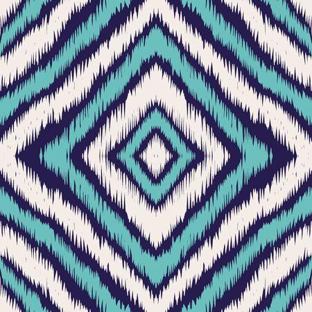 Indigo Repeat Carpet Vector Seamless Pattern. Geometric Batik Uzbek Texture. Aztec Graphic Design. Indigo Tie Dye Japan Vector Seamless Pattern Ilustracja