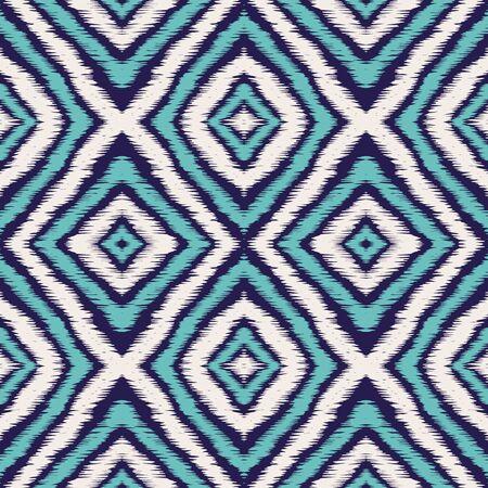 Blue Boho Tribal Vector Seamless Pattern. Repeat Tribal Japanese Background. Navajo Boho Texture. Indigo Ikat Japan Vector Seamless Pattern Ilustracja