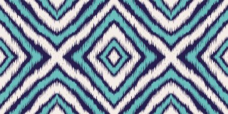 Blue Psychedelic Chevron Vector Seamless Pattern. Graphic Chevron Japan Print. Indonesian Handmade Background. Indigo Chevron Japanese Vector Seamless Pattern