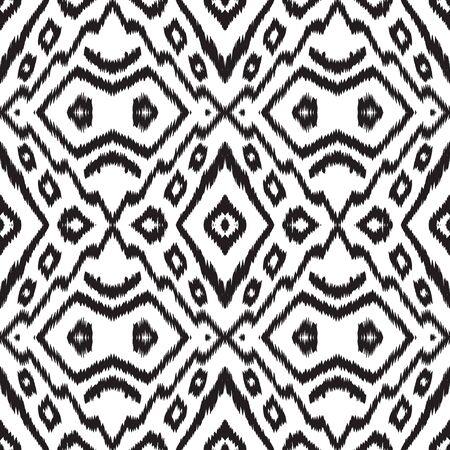 Black and White Watercolor Tie Dye Vector Seamless Pattern. Drawn Batik Navajo Wallpaper. Navajo Rustic Ornament. Black Chevron African Vector Seamless Pattern Zdjęcie Seryjne - 140856013