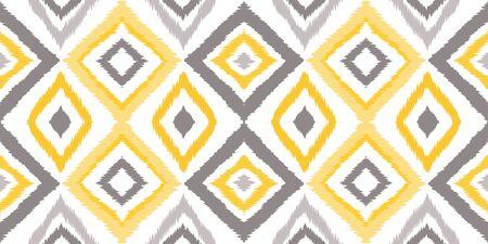 Yellow Ikat Stripe Vector Seamless Pattern. Geometric Tile Print. Indian Bohemian Shibori Wallpaper. Gray Psychedelic Ethnic Ornament.