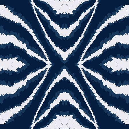 Cold Tile Watercolor Vector Seamless Pattern. Ethnic Handmade Tie Dye Pattern. Drawn Japanese Ornament. Blue Tribal Trendy Design.