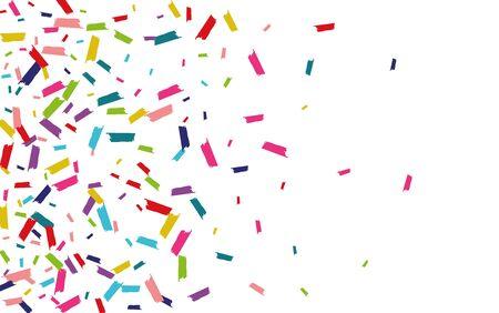 Color Celebration Rain Illustration. Round Background. Confetti Carnival Backdrop. Rainbow Transparent Invitation. Ilustracja