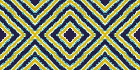 Indigo Drawing Ikat Vector Seamless Pattern. Trendy Chevron Navajo Wallpaper. Indonesian Arabic Design. Blue Tile Japan Vector Seamless Pattern Ilustracja
