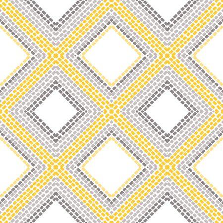 Gray Shibori Stripe Vector Seamless Pattern. Ogee Tie Dye Print. Traditional Elegant Tribal Wallpaper. Bright Fabric Indonesian Background. Zdjęcie Seryjne - 140856060