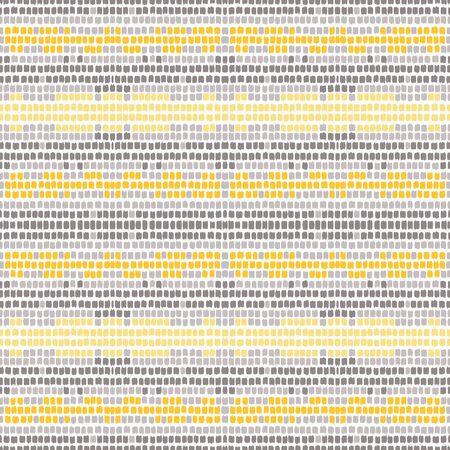 Gray Strip Paint Vector Seamless Pattern. Scandinavian Textile Line Design. Trendy Mexican Illustration. Yellow Stripe Fashion Print.