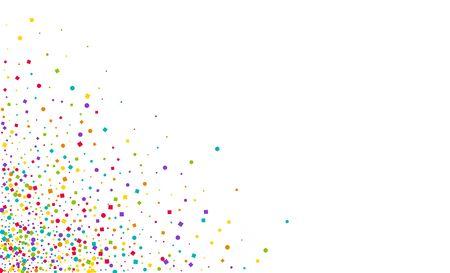 Color Decoration Round Background. Colorful Flying Dot Design. Vector Confetti Card. Green Rain Carnaval Postcard. Zdjęcie Seryjne - 142129279