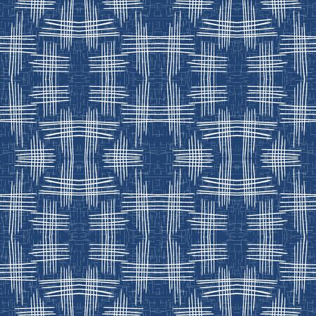 Cornflower Line Tablecloth Vector Seamless Pattern. Cobalt Checkered Shirt Background. Modern Grid Backdrop. Jeans Check Vintage Wallpaper.