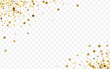 Gradient Festive Polka Card. Transparent Glitter Background. Gold Circle Art Pattern. Glow Confetti Frame. Golden Isolated Illustration. Иллюстрация