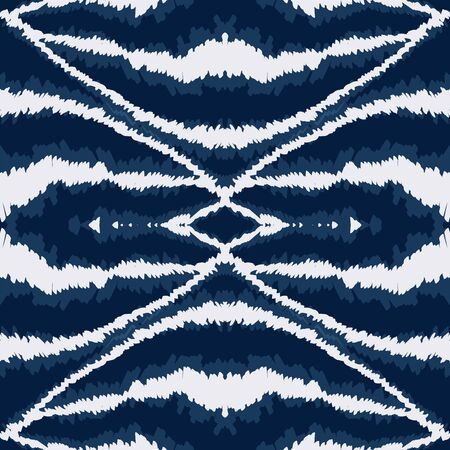 Indigo Chevron Graphic Vector Seamless Pattern. Aztec Handmade Ikat Background. Geometric Indian Texture. Cyan Tribal Psychedelic Design.