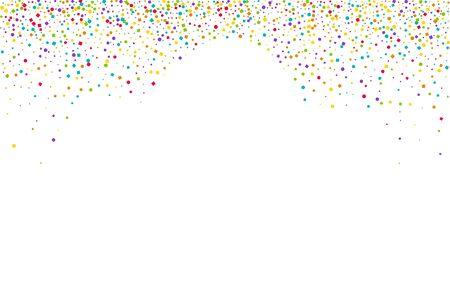Yellow Decoration Circle Card. Orange Celebrate Rain Background. Happy Dot Banner. Colorful Shine FallingFestive Invitation.