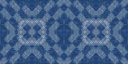 Denim Cell Simple Vector Seamless Pattern. Cobalt Tablecloth Cage Wallpaper. Decoration Grid Background. Sky Linear Hand Illustration.