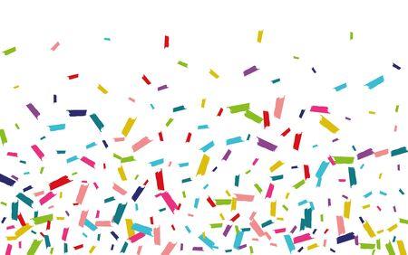 Rainbow Effect Confetti Illustration. Dust Invitation. Round Vector Illustration. Rainbow Flying Pattern.