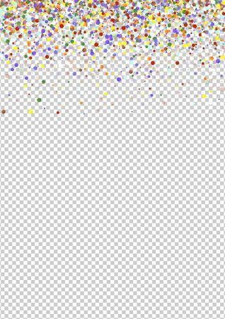 Conception de poussière de carnaval de couleur. Illustration ronde abstraite colorée. Chute de la texture des éclaboussures festives. Bannière Invitation Orange Shine.