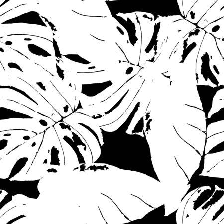 Black Plant Fabric Vector Seamless Pattern. Palm Vintage Texture. Hawaii Flower Backdrop. Monochrome Summer Floral Design. Çizim