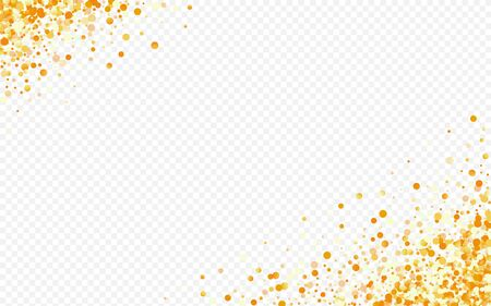 Gold Dust Holiday Transparent Background. Luxury Polka Banner. Golden Dot Abstract Postcard. Round Effect Illustration.