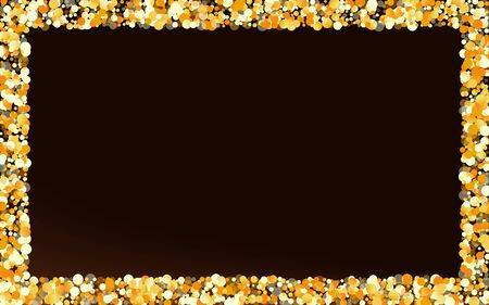 Golden Shine Paper Brown Dark Background. Shiny Glow Banner. Yellow Dust Abstract Background. Sequin Christmas Texture. Ilustração