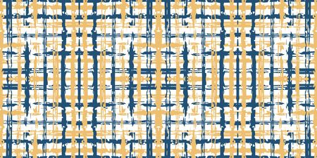Blue Square Graphic Vector Seamless Pattern. Modern Cross Illustration. Line Fashion Background. Beige and Blue Plaid Repeat Backdrop. Ilustração