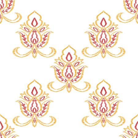 Red Medallion Lace Vector Seamless Pattern. Vintage Flower Design. Damask Illustration. Orange Ornament India Backdrop.