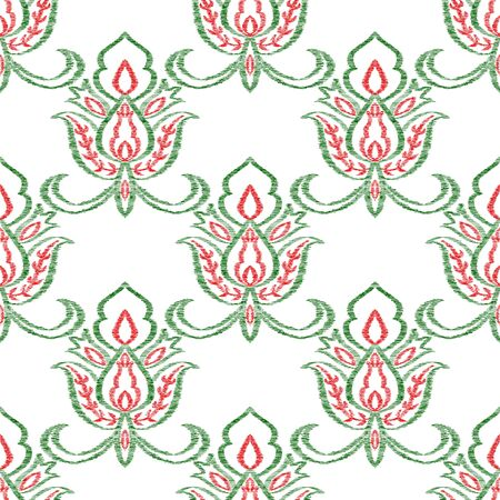 Red Ikat Art Vector Seamless Pattern. Floral Rug Background. Mexican Design. Green Ornament Abstract Pattern.