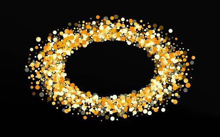 Gold Confetti Isolated Black Background. Bright Circle Card. Golden Splash Transparent Background. Shine Effect Pattern.