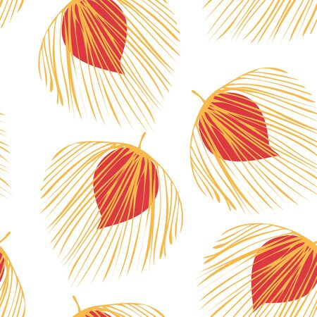 Red Leaf Vintage Vector Seamless Pattern. Flower Nature Design. Tree Foliage Illustration. Yellow Painting Floral Pattern.
