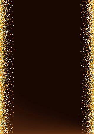 Gold Sparkle Modern Brown Dark Background. Bright Splash Background. Golden Dust Christmas Backdrop. Rain Anniversary Illustration.