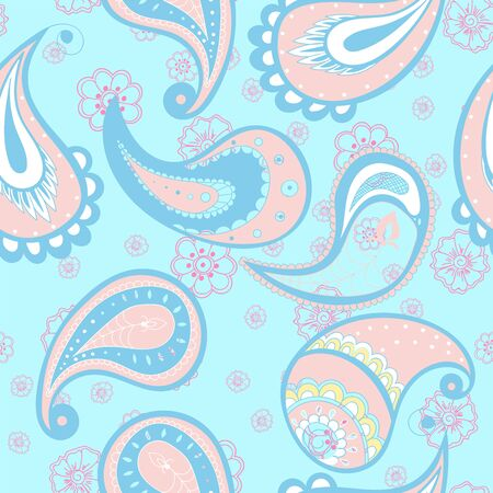 Pink and Blue Ornament Vintage Vector Seamless Pattern. Traditional Floral Background. Flower Turkish Texture. Pink Beautiful Wallpaper.
