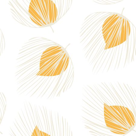Orange Plant Fashion Vector Seamless Pattern. Floral Summer Background. Tree Leaf Design. White Vintage Foliage Illustration.