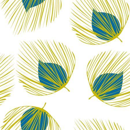 Green Floral Fabric Vector Seamless Pattern. Flower Summer Pattern. Fashion Leaf Wallpaper. Blue Textile Foliage Illustration. Çizim