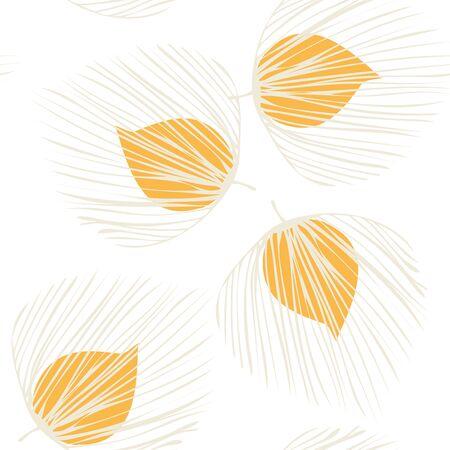 Orange Palm Textile Vector Seamless Pattern. Plant Nature Pattern. Spring Foliage Backdrop. Yellow Vintage Leaf Background. Çizim
