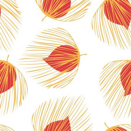 Orange Palm Fashion Vector Seamless Pattern. Floral Exotic Wallpaper. Summer Leaf Design. Yellow Hawaii Flower Illustration.