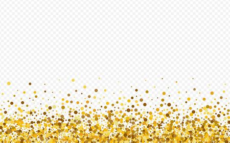 Gold Shine Modern Transparent Background. Golden Confetti Card. Yellow Dust Shiny Background. Circle Bridal Texture.