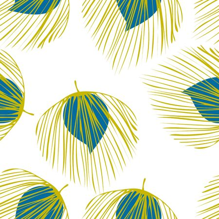 Blue Plant Abstract Vector Seamless Pattern. Foliage Fabric Pattern. Vintage Leaf Wallpaper. Turquoise Exotic Floral Texture.