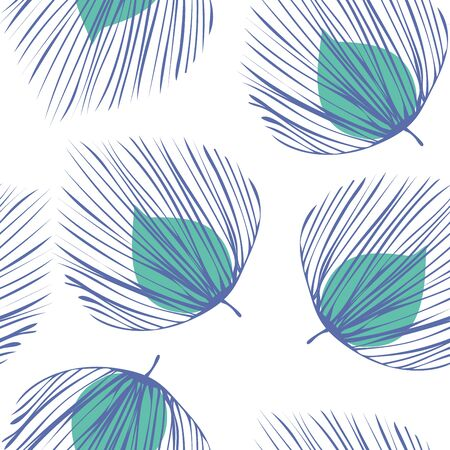 Turquoise Foliage Vintage Vector Seamless Pattern. Leaf Abstract Pattern. Textile Plant Illustration. Green Design Flower Texture.