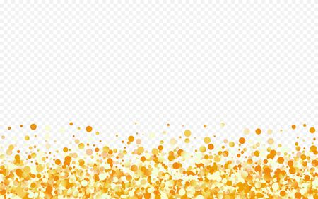 Yellow Dot Isolated Transparent Background. Abstract Sparkle Texture. Gold Dust Light Pattern. Splash Art Invitation.