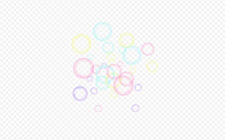 Rainbow Soap Bubble Isolated Transparent Background. Air Foam Wallpaper. Colored Liquid Soapy Background.