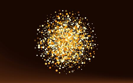 Gold Glow Golden Brown Dark Background. Transparent Circle Wallpaper. Yellow Sequin Bright Illustration. Shine Isolated Banner.
