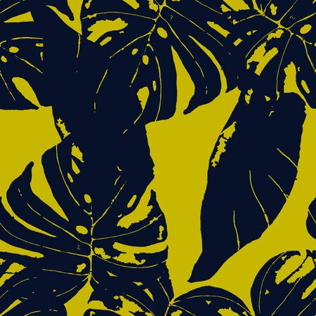 Yellow Monstera Leaves Exotic Vector Seamless Pattern. Palm Textile Texture. Fabric Floral Background. Blue Vintage Flower Pattern. Ilustração