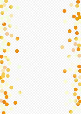 Gold Sparkle Golden Transparent Background. Isolated Circle Banner. Yellow Rain Christmas Card. Sequin Modern Backdrop.