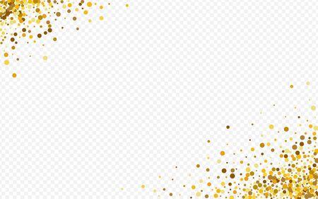 Fond Transparent Heureux De Poussière D'or. Carte postale de point de fête. Bannière De Papier Polka Doré. Lueur Texture Transparente.