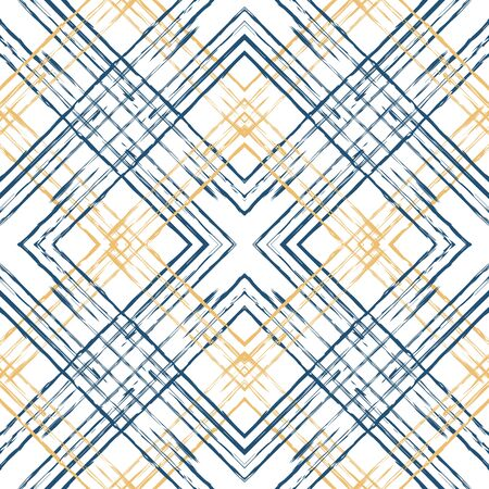 Beige and Blue Square Repeat Vector Seamless Pattern. Graphic Cross Illustration. Line Simple Background. Blue Plaid Modern Design.