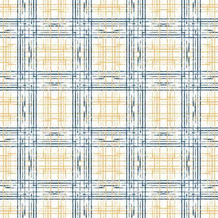 Beige and Blue Check Geometric Vector Seamless Pattern. Paint Square Wallpaper. Stripe Vintage Illustration. Blue Grid Decoration Pattern.