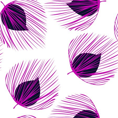 Violet Flower Jungle Vector Seamless Pattern. Leaf Design Backdrop. Fashion Plant Pattern. Magenta Fabric Floral Texture.