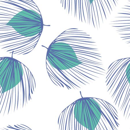 Blue Palm Abstract Vector Seamless Pattern. Flower Hawaii Backdrop. Fashion Foliage Illustration. Turquoise Tree Floral Design.