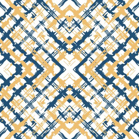 Blue Square Scotland Vector Seamless Pattern. Decoration Tartan Pattern. Linear Network Backdrop. Beige and Blue Grid Modern Illustration. Иллюстрация