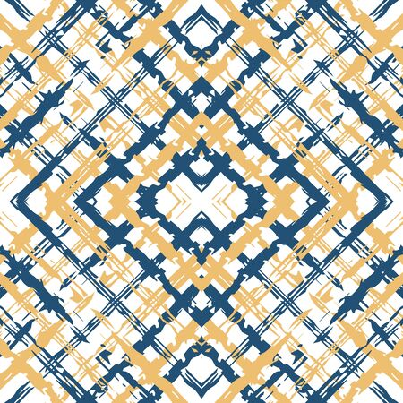 Blue Grid Creative Vector Seamless Pattern. Repeat Line Wallpaper. Cross Simple Background. Beige and Blue Cell Tablecloth Pattern.
